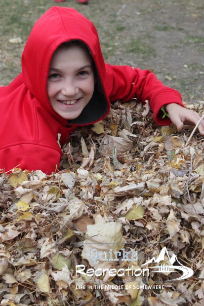 boy jumping in leaf pile