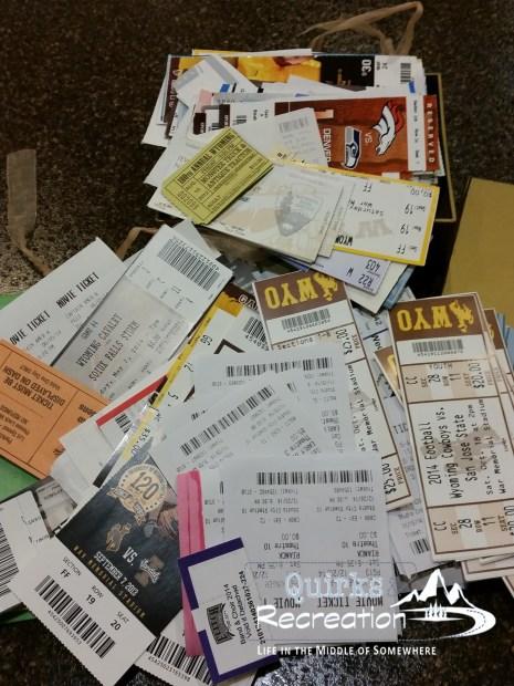 pile of random ticket stubs