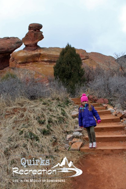 Young girl hiking a trail at Red Rocks near Denver, Colorado