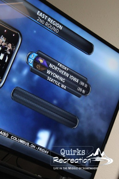 TV with NCAA basketball bracket