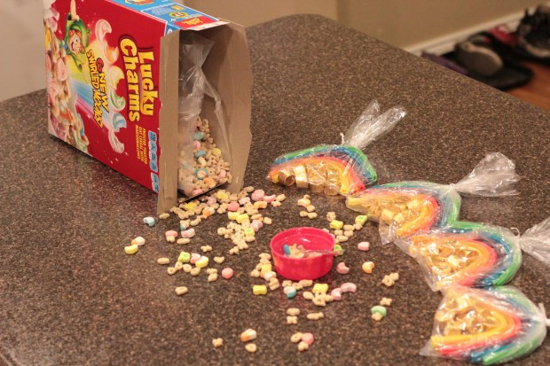 spilled box of Lucky Charms