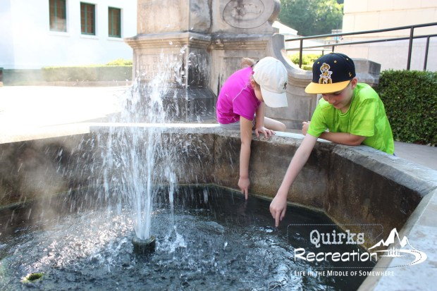 Kids with fountain at Hot Springs