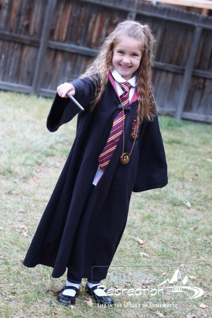 girl dressed as Hermione Granger for Halloween
