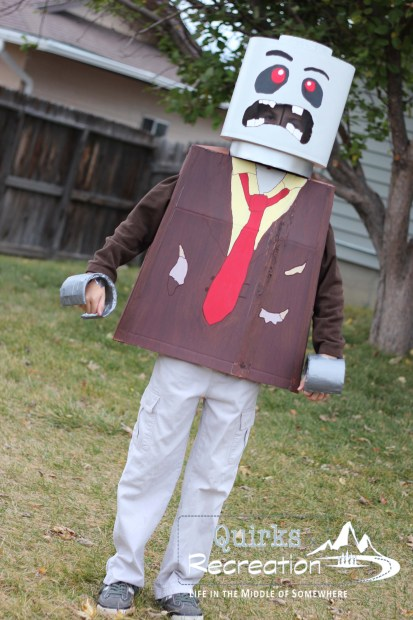 boy dressed as a zombie LEGO mini figure