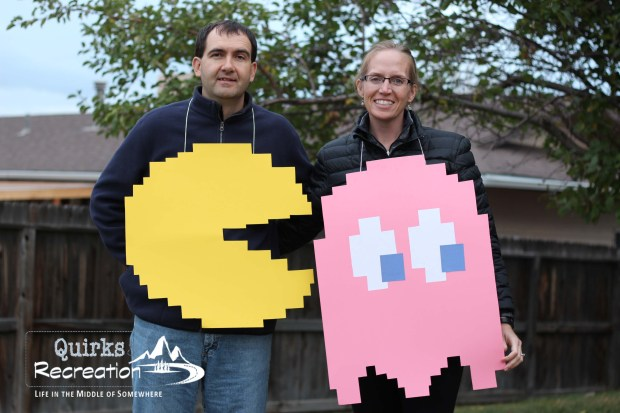 man and woman dressed as Pac-Man and ghost
