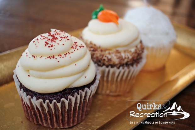 three cupcakes on a plate