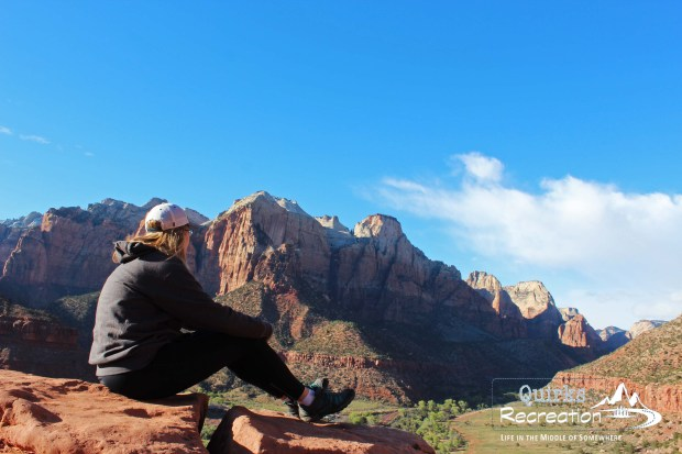 Hiker on Watchman Trail in Zion National Park