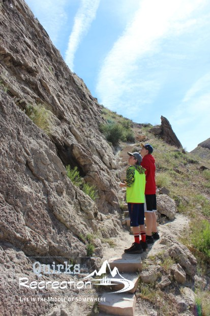 two boys hiking Fossil Discovery Trail at Dinosaur National Monument