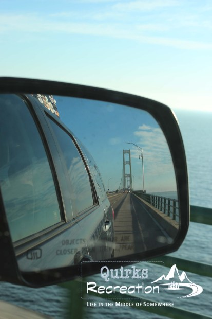 Side mirror look at Mackinac Bridge