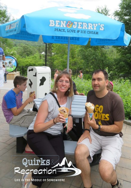 parents eating ice cream at Ben & Jerry's Factory
