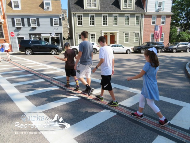 Children walking the Freedom Trail line in Boston
