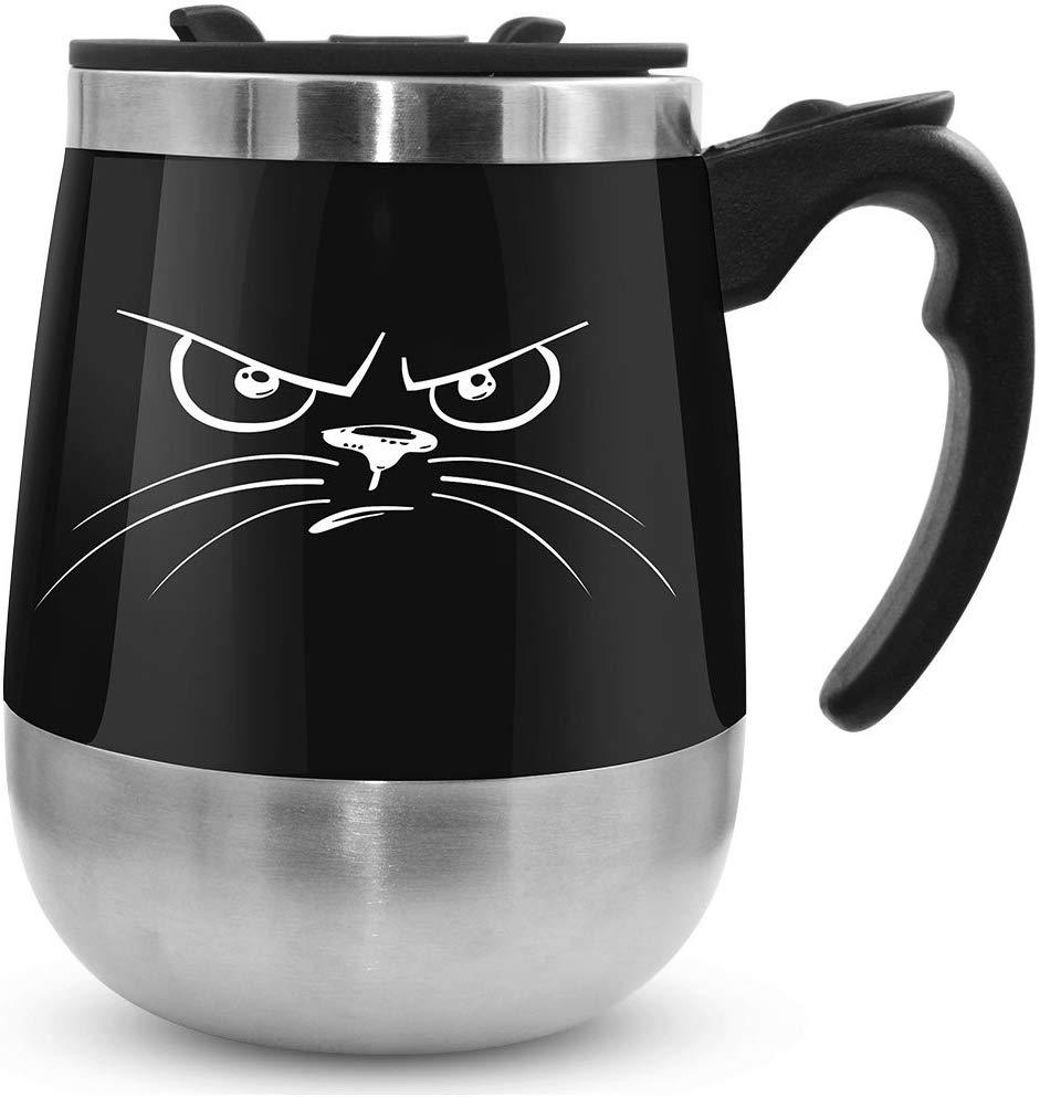 leadnovo pink black blue cat stirring mug
