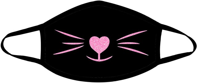 black cat face mask with pink nose and whiskers