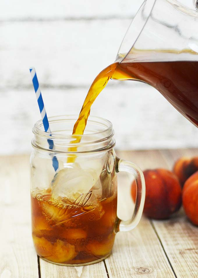 One of my favorite homemade iced tea recipes is this peach iced tea recipe! It reminds me of home and of course, summer!