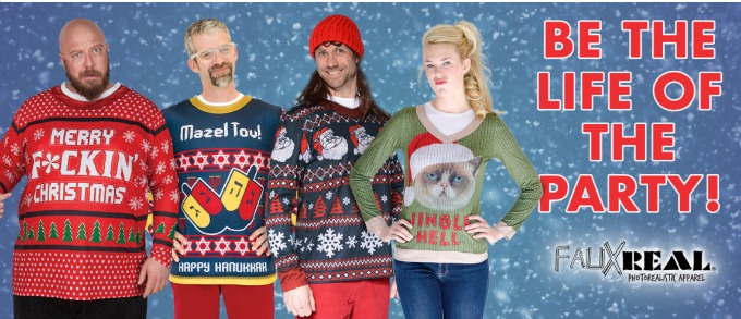 Looking for ugly christmas sweaters? Check out the line at Faux Real. Super comfy ugly christmas sweater gift ideas!