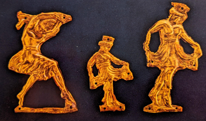 Dancing figure gold applique plaques
