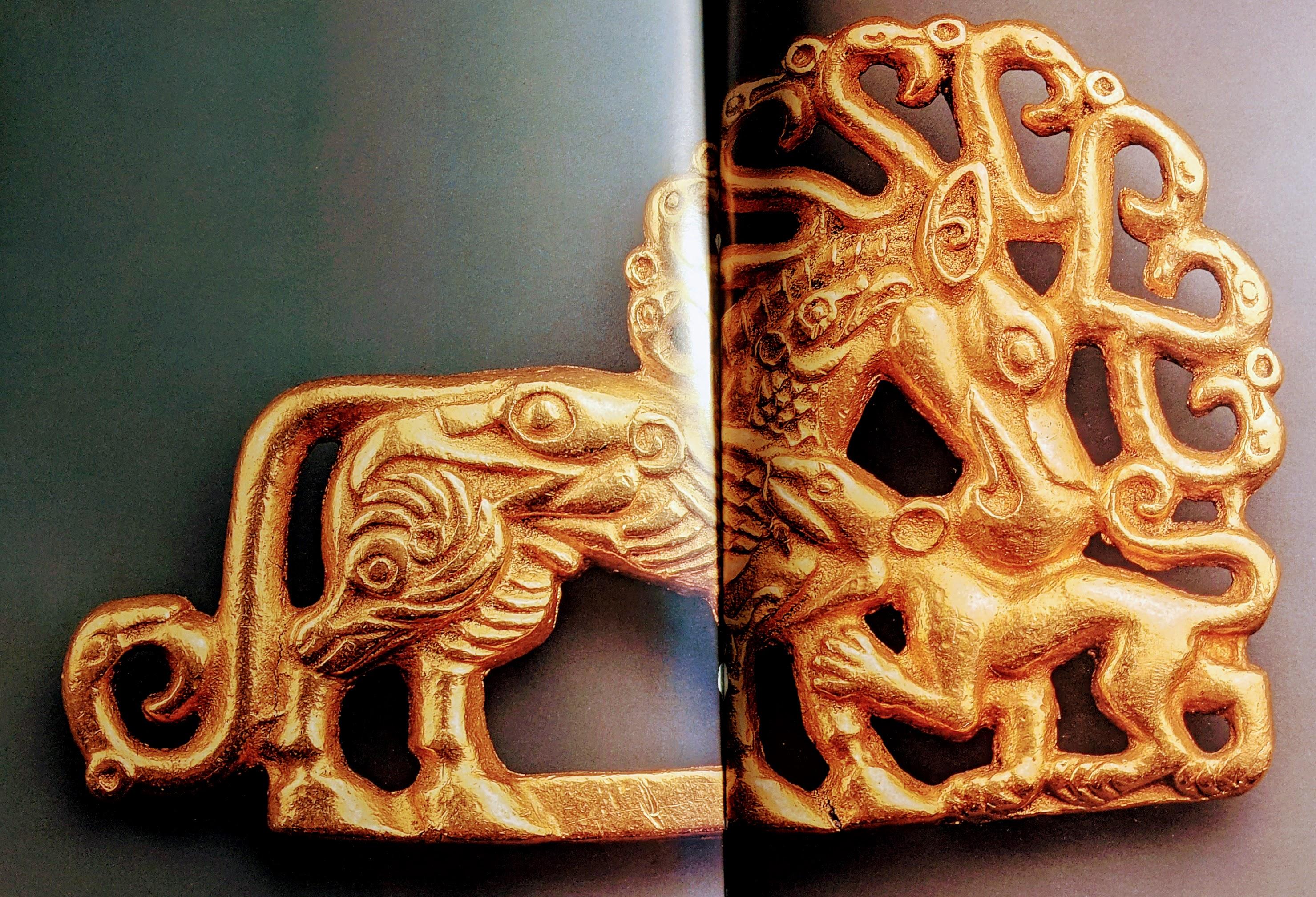 Mythic multi-creature gold belt plaque