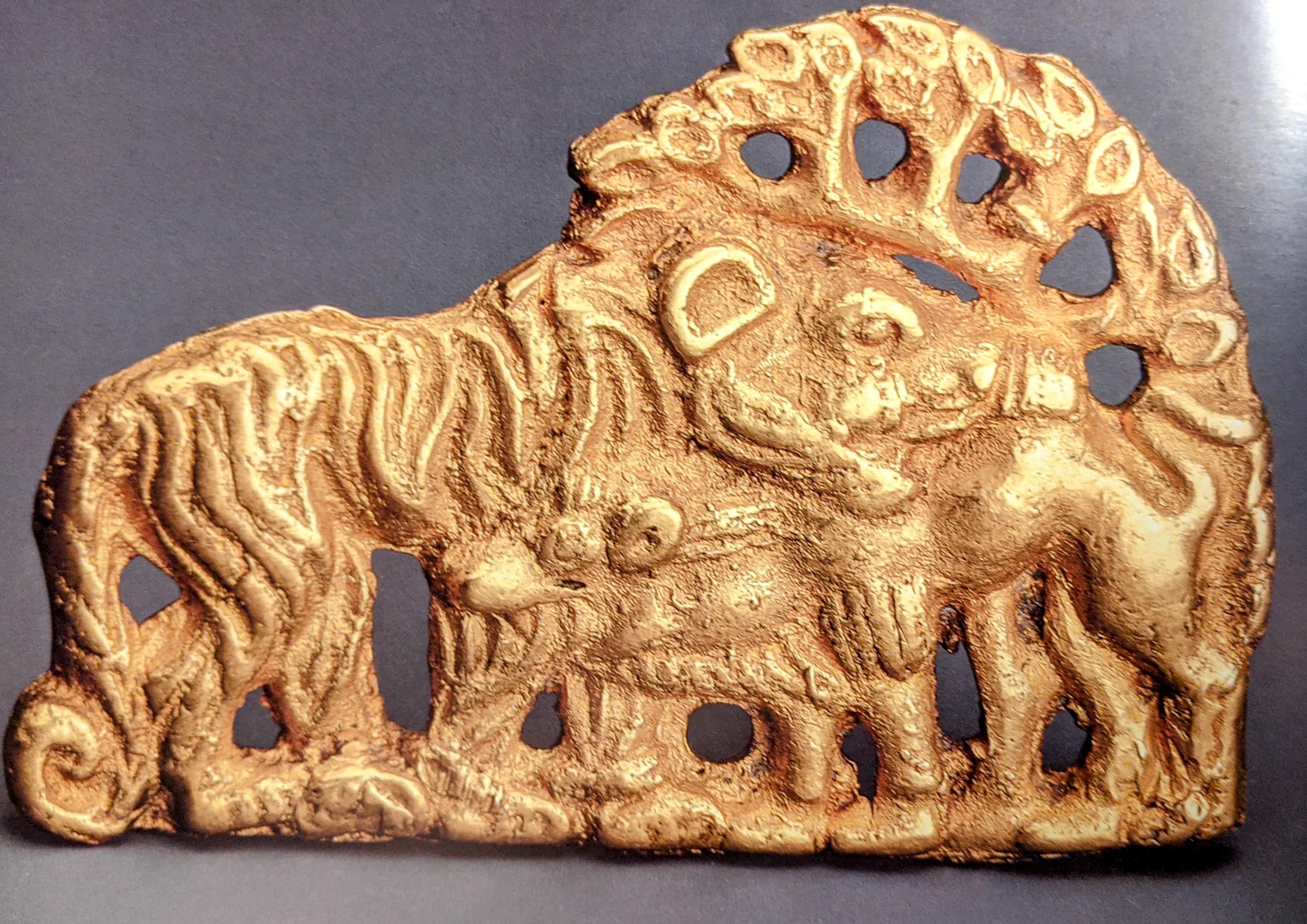 Tiger and camel gold belt plaque