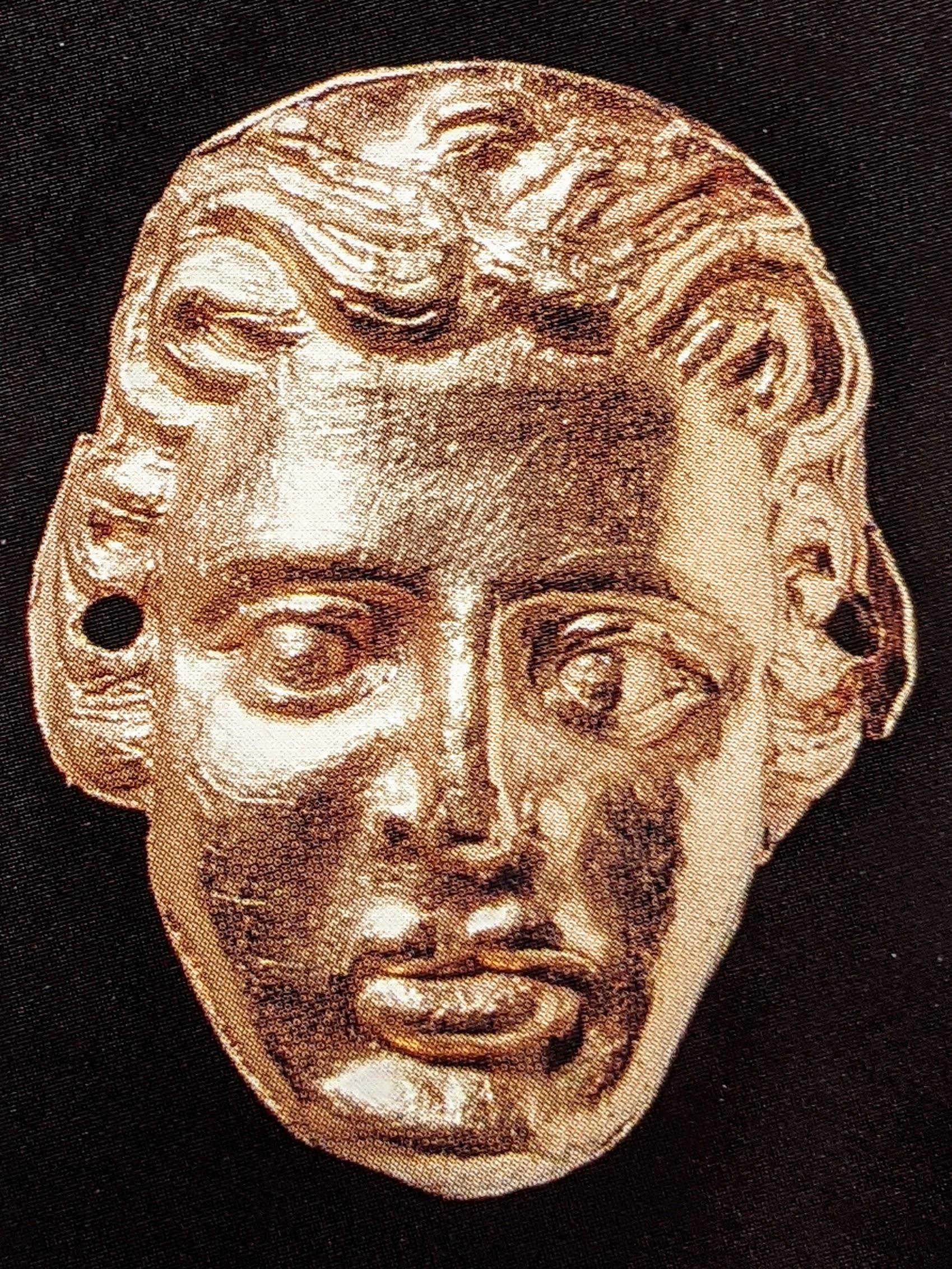 Female head gold applique plaque
