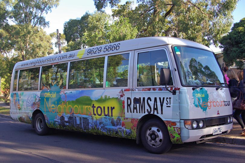 The official tour bus of the Ramsay Street Neighbours Tour in Melbourne.