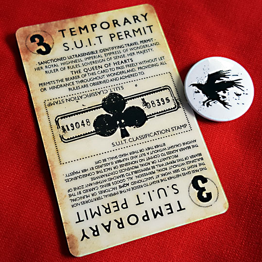 Alice's Adventures Underground card and badge