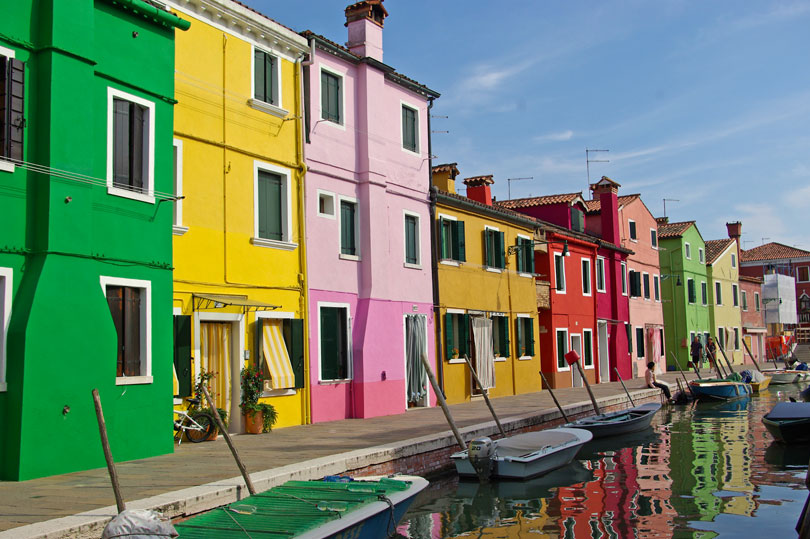 The vibrant island of Burano in the Venetian Lagoon, Italy.