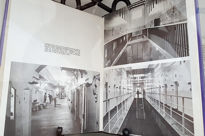 Book showing the converted prison as it was before it became quirky accommodation in New Zealand