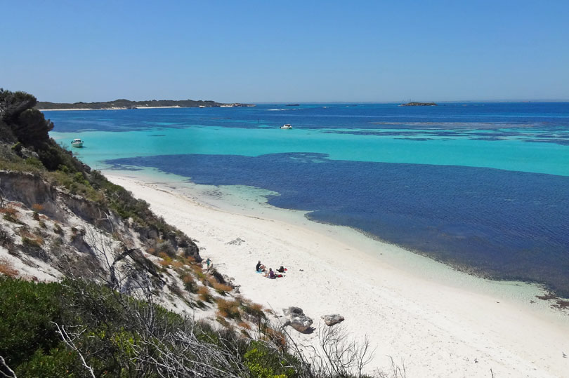 The stunning white sand and turquoise seas of Rottnest Island