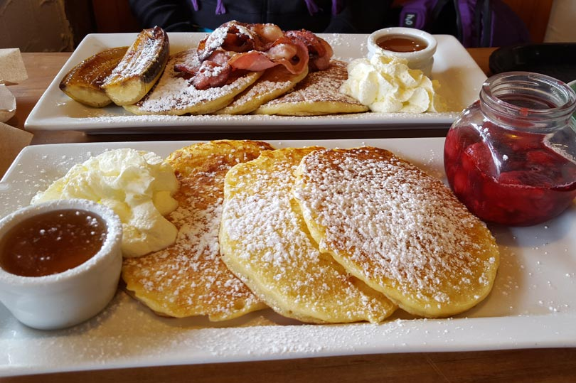 Berries and cream or bacon, banana and maple syrup pancakes?