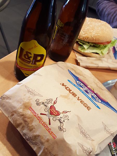 L&P plus a V-Dub Vege at BurgerFuel New Zealand