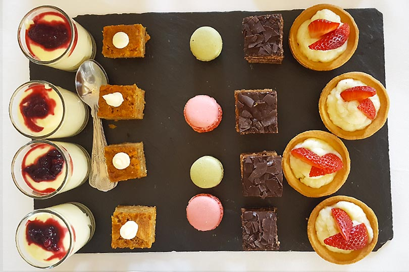 Afternoon tea cake selection at Chilston Park Hotel in Kent, England