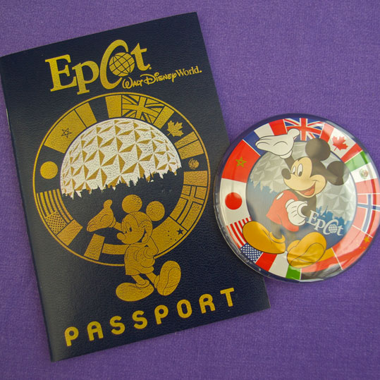 Epcot World Showcase souvenir passport and badge