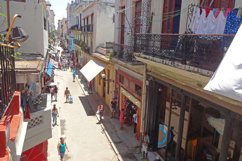 Calle Obispo - a pedestrianised shopping street in Havana