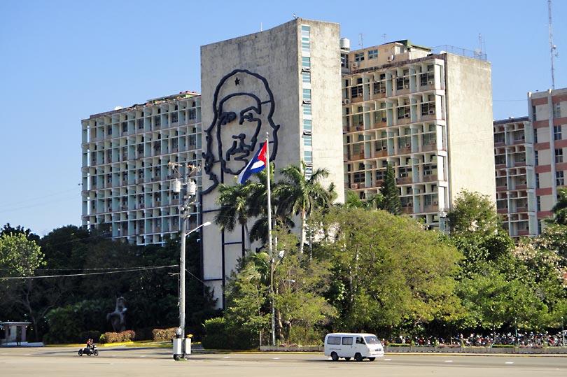 Iconic Che Guevara at Revolution Square in Havana, Cuba