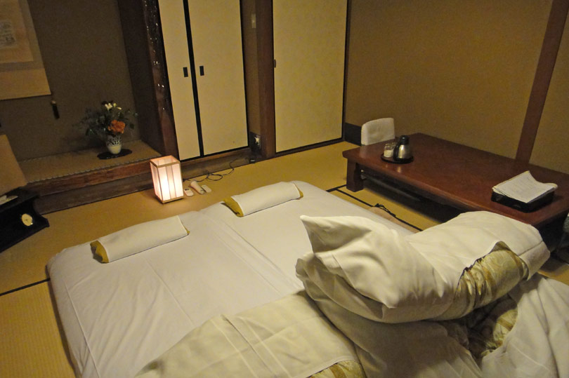 Room at the ryokan set up for bedtime