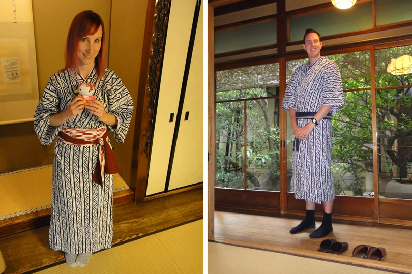 Wearing yukata (cotton robes) at a ryokan