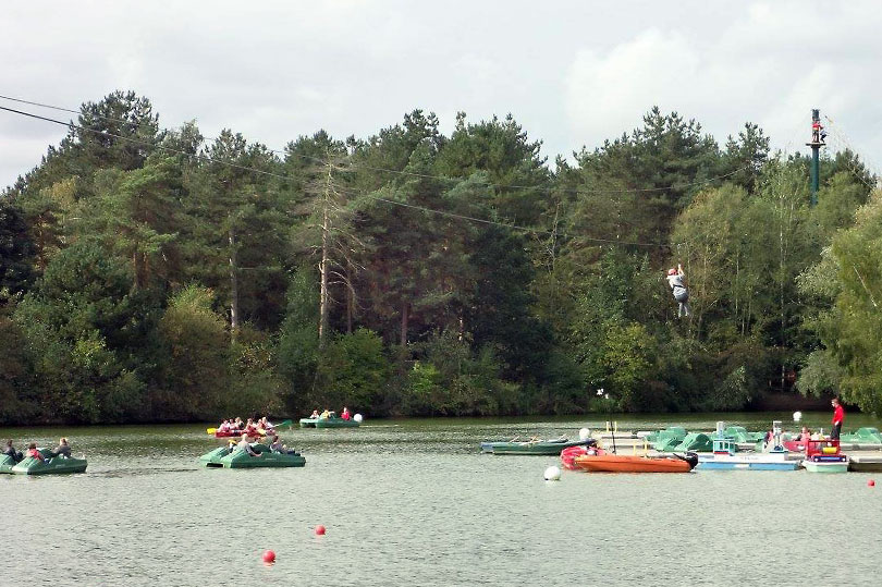 Zipline at the end of the aerial adventure at Elveden Centre Parcs