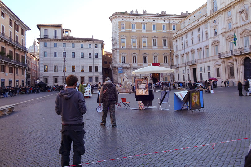 The filming of 'American Assassin' in Piazza Navona, Rome, Italy.