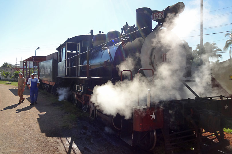 Steam train at a sugar mill in Cuba