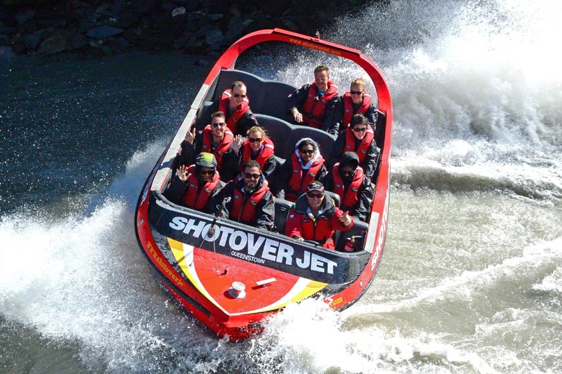 Shotover jet boat ride in Queenstown, New Zealand