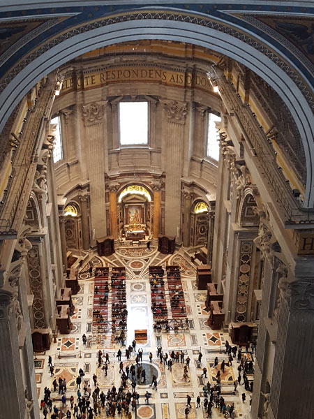 View inside the Basilica from the interior balcony - St Peter's Basilica, Vatican City.