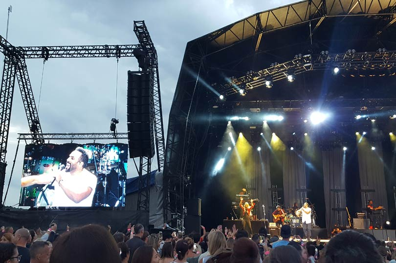 Craig David playing an outdoor concert at Rochester Castle Gardens in Kent