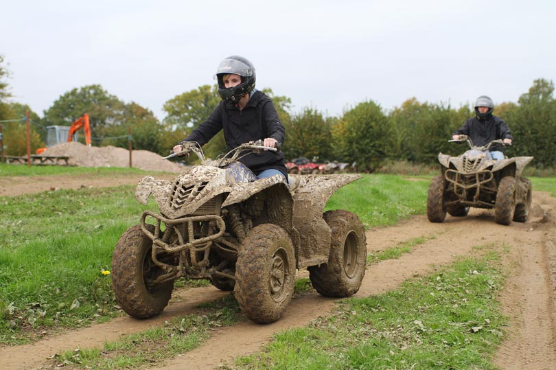 Driving on the nursery track at Southern Pursuits quad biking day.