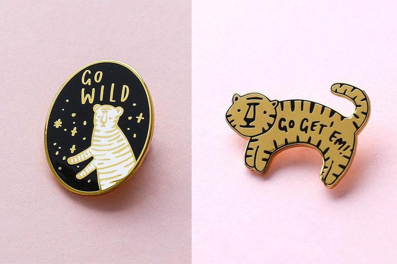 Old English Company enamel pins - tiger themed