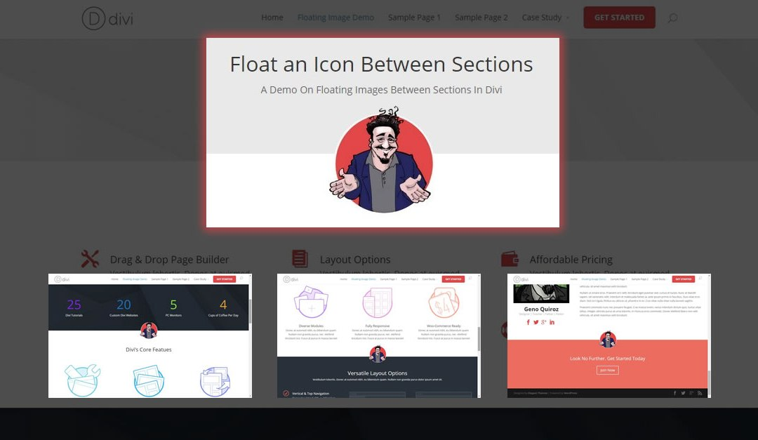 How to Float An Image In Between Sections in Divi