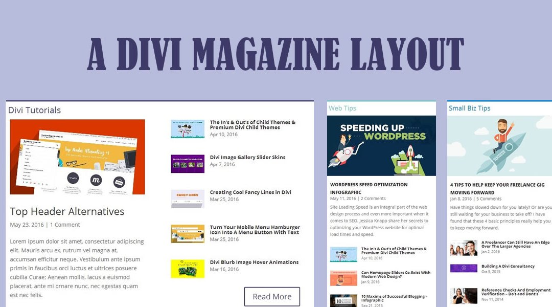 Building a Magazine Layout with Divi