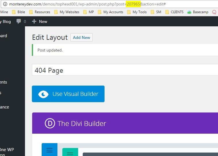 Create a 404 page template using a divi builder layout - Divi builder 2 0 7 ...