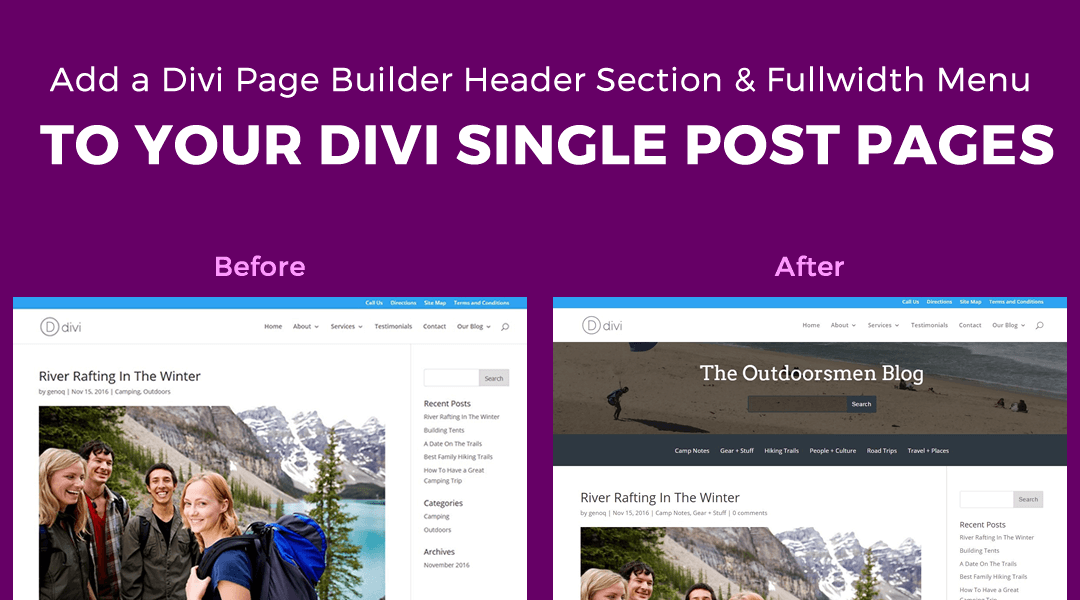 Add a Header Section & Fullwidth Category Menu to the Top of your Single Post Pages