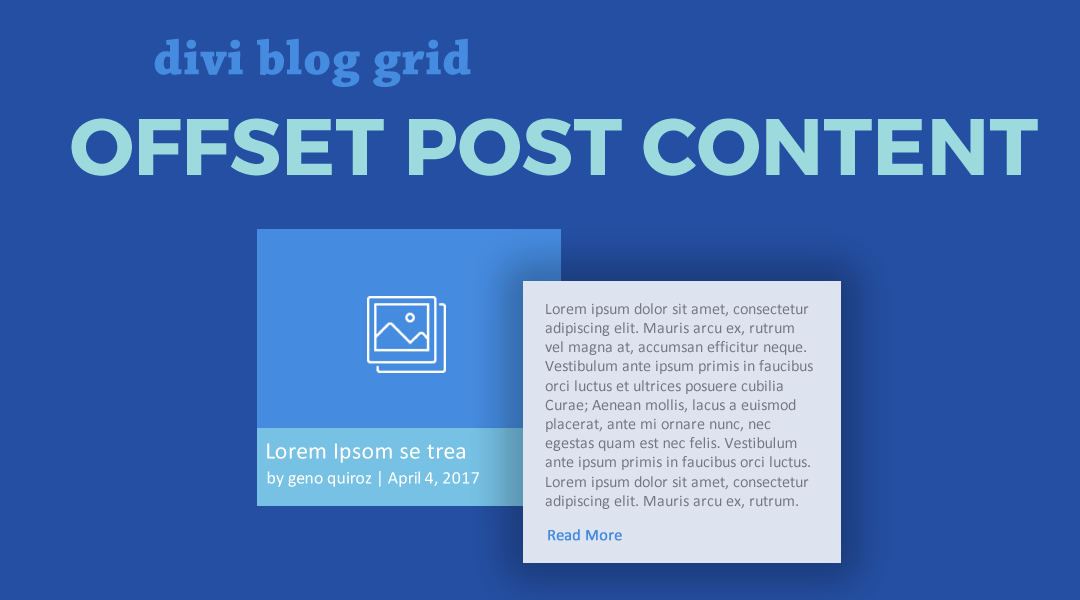 Divi Blog Grid Offset Content with Hover Animation