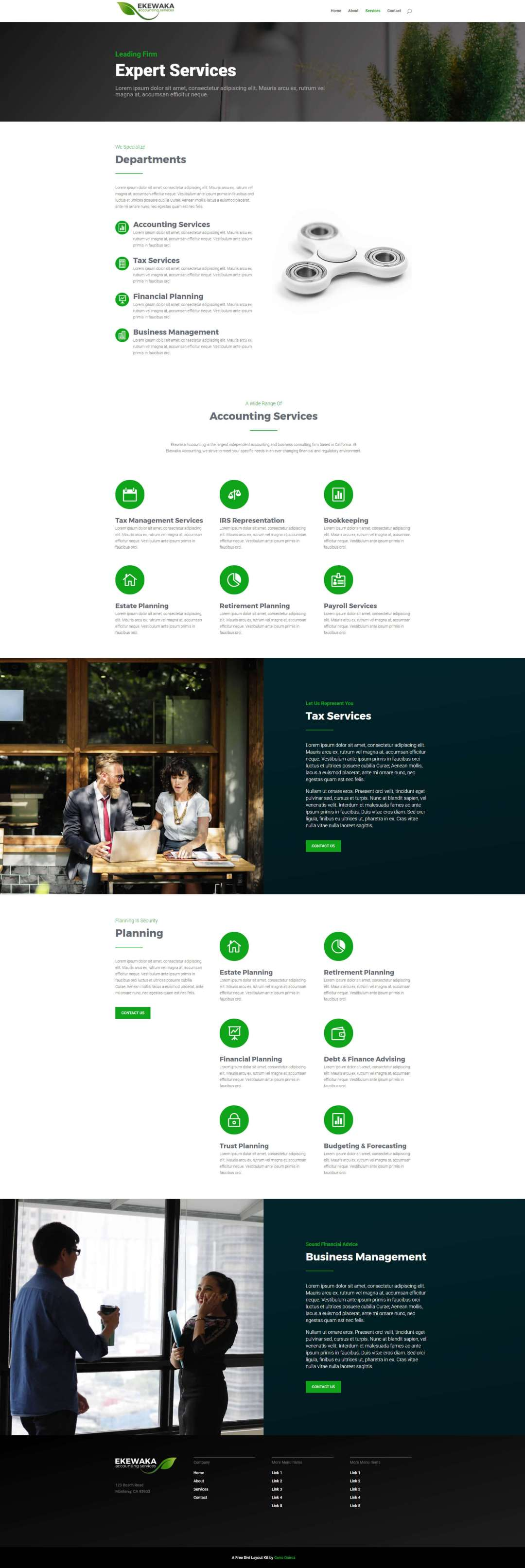 Green Business Divi Layout Kit Service Page